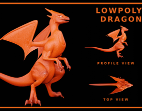 Lowpoly Rigged Flying Dragon 3D model