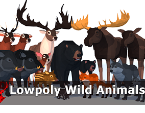 3D asset LowPoly Wild Animals pack