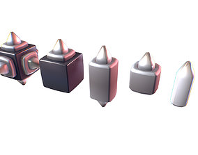 Cube World Metal Spike Block - Proto Series 3D model