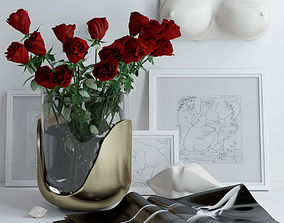 Set with roses marble bust and lips 3D