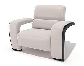 Modern White Cushioned Chair 3D model