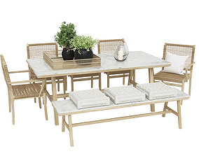 Chai outdoor table with rotting wood chair and 3D model 1