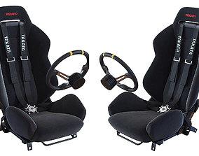 3D model Racing seat Recaro and Wheel MOMO