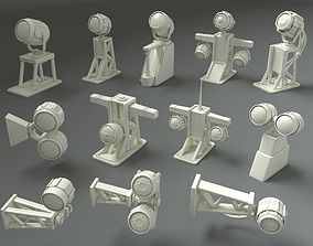 3D asset Low Poly Military Lamps - 12 pieces