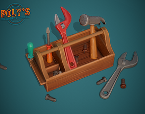 Toolbox and tools - Stylized Low Poly 3D model realtime