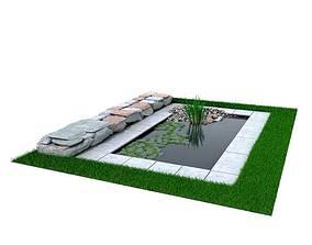 Landscaped Stone Pond 3D model