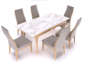 Dining table and chair 3D model realtime
