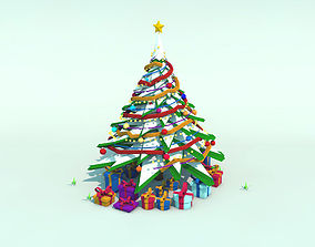 3D model Low Poly Snow Christmas Tree