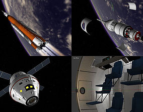 3D asset NASA Orion SLS Space Launch System with capsule 1