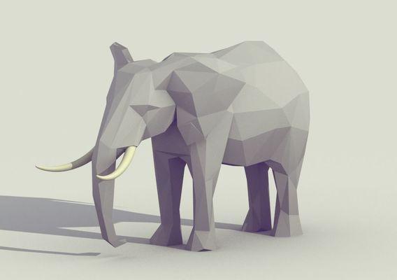 Low Poly Elephant (Low Poly Animal)