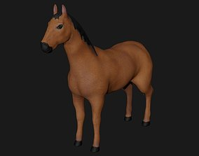 Brown Horse Stallion fully rigged low poly 3D model
