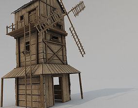 Medieval Wooden Windmill PBR 3D asset realtime
