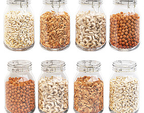 3D Kitchen glass jars set with nuts