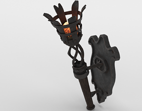 Medieval Burning Torch and Holder 3D Model