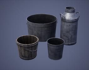3D asset Metal Bucket Set Low Poly Game Ready