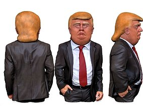 Donald Trump caricature bust 3D print model