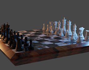 3D model game-ready Low poly Chess set