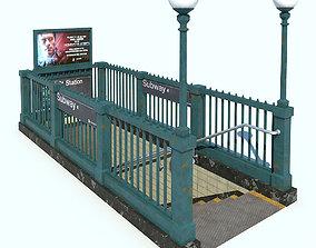 Subway Entrance NYC 3D asset