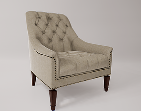 3D model low-poly PBR Tufted Armchair