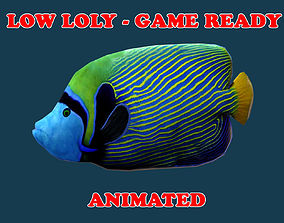 Low poly Emperor Angel Fish Animated - Game Ready 3D model