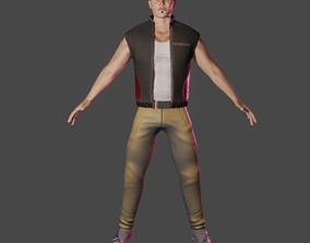 3D asset Human bold character and vest