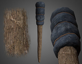 3D asset Wrapped Medieval Torch