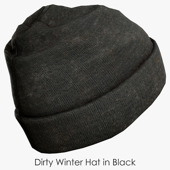 Dirty Winter Hat in Black