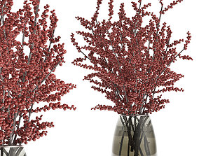 Bouquet of branches with red berries in a vase 99 3D