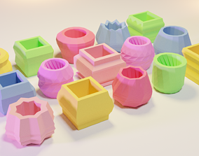 3D model 15 Flower Pots for Succulent Plants 3D Print