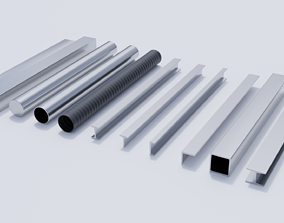3D model Steel Beams and Pipes Collection