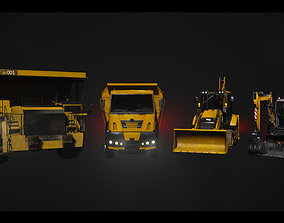 Driveable Animated Construction Vehicles Set of 4 3D model