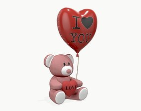 bear teddy plush toy with heart and balloon 3D