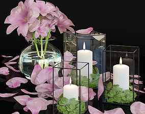 Flowers with candles 3D asset