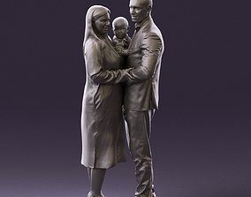 001048 man in gray suit woman in black baby 3D Print
