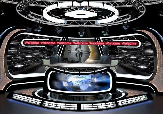 Virtual TV Studio News Set 34