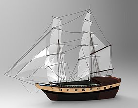 Pirate sailboat 3D asset