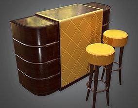 3D model DKO -Bar Table and Stools Art Deco - PBR Game