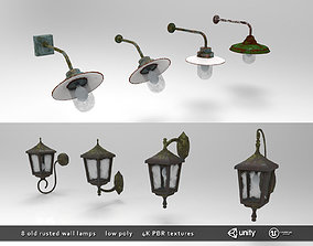 Old Rusted Outdoor Wall Lamps Pack 3D asset