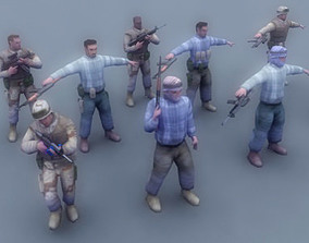 3D asset US Army Soldier and Rebel Insurgents