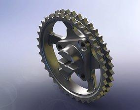 3D model Mercedes benz 646 engine chain wheel