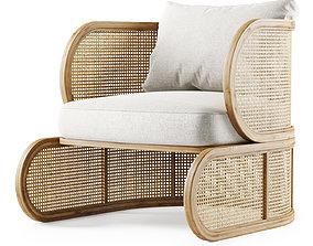 Wooden rattan lounge chair C21 Butterfly 3D model