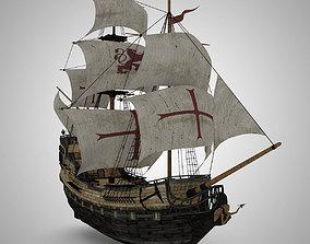 3D model Galleon Sailing Pirate Ship Black Pearl