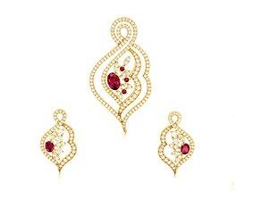 jewellery Women pendant-earrings set 3dm render detail