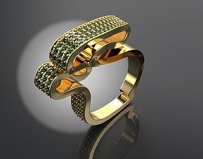 3D print model chic large ring with gems