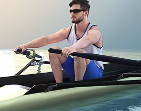 Rowing Athletes - Three Rowers 3D model