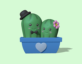 Cute Cactus Couple - Valentines day 3D print model