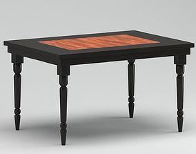 3D model Black & Wooden Dinning Table