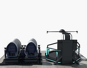 3D model Set of VR Equipment And Egg Chairs