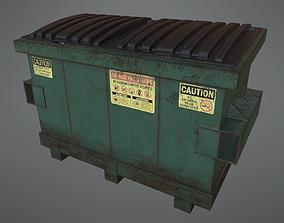 Lowpoly PBR Rusty Dumpster and Trashbag 3D model
