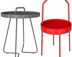 3D model Set of coffee bedside side coffee tables BURVIK 1